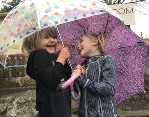 Kindergarten students in Beaverton, Oregon having fun on a rainy day with their umbrellas