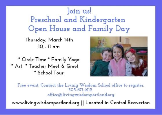 Flyer for Open House for Preschool and Kindergarten in Beaverton, Oregon
