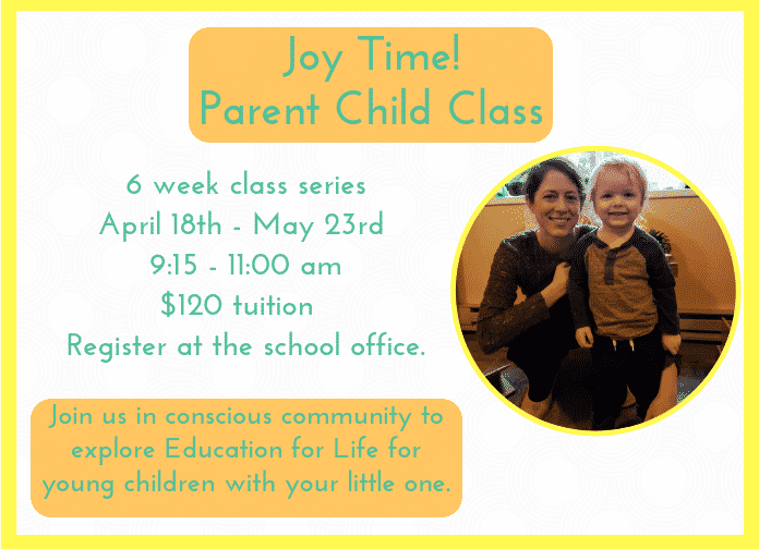 Preschool Parent Child Class Series Flyer, Thursdays April 18-May 23, 2019